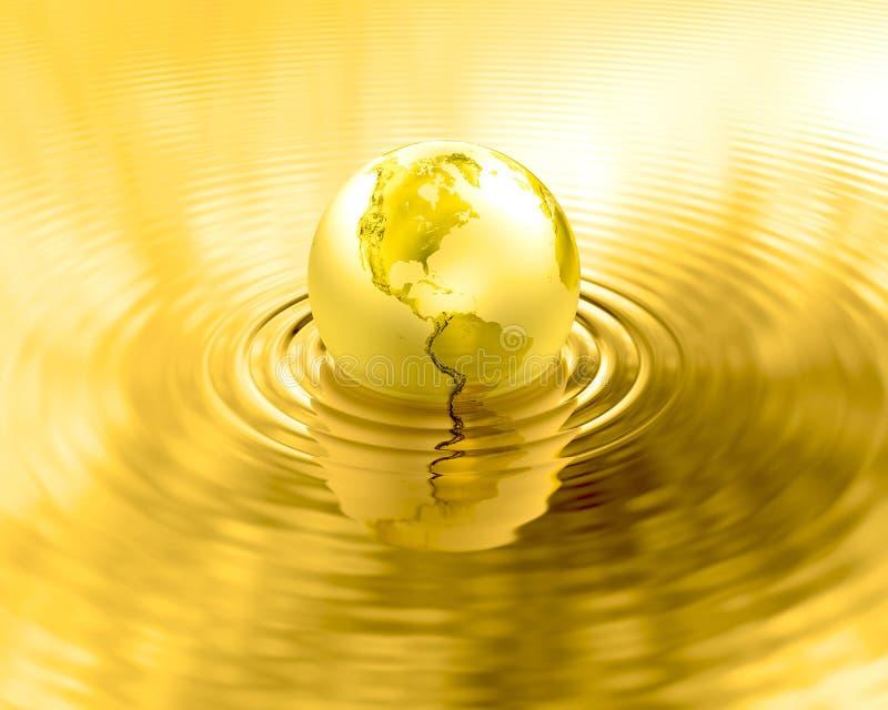 De gouden gouden vloeibare rimpelingen van de Aardeplaneet royalty-vrije illustratie