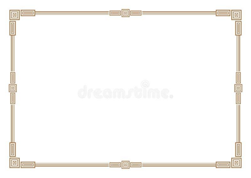 3 de gouden grens van de strepenstijl & kaderspatie vector illustratie
