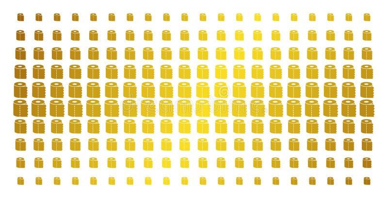 De Gouden Halftone Matrijs van het toiletpapierbroodje stock illustratie