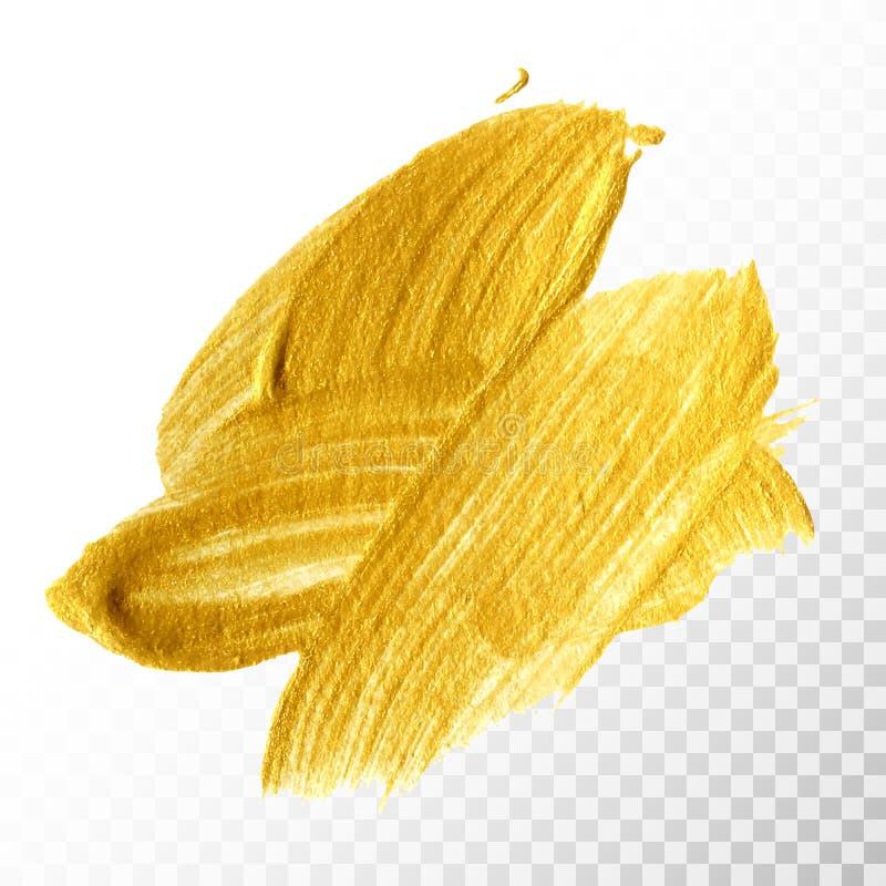 De gouden hand getrokken geïsoleerde slag van de verfborstel stock illustratie