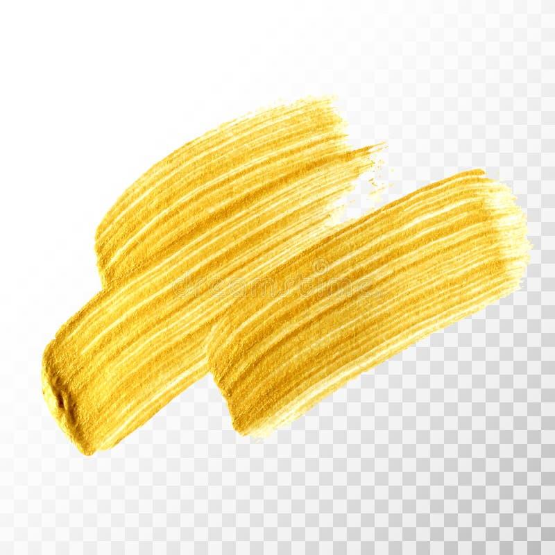 De gouden hand getrokken slag van de verfborstel vector illustratie