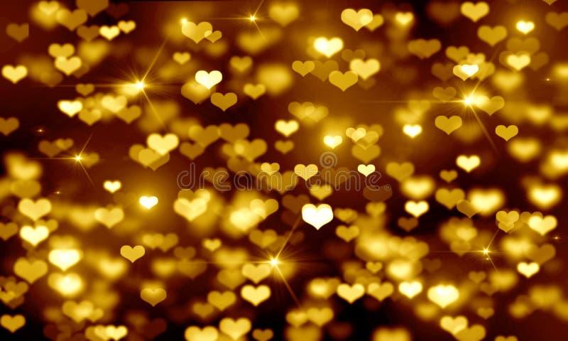 De gouden harten op zwarte achtergrond, vage bokeh heldere achtergrond, geel, schitteren, vakantie, goud, lichten, uitstraling, V stock illustratie