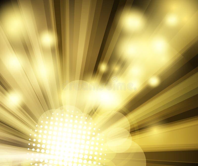 De gouden heldere achtergrond van de discoclub stock illustratie