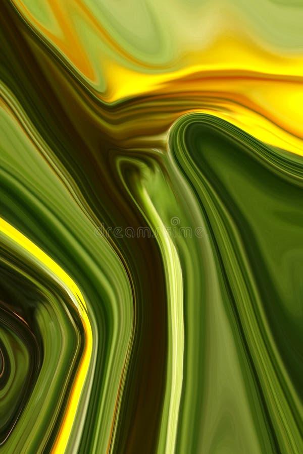 De gouden Hemel landt 00154 D - Abstract groen landschap en gouden hemel stock illustratie