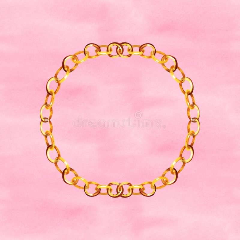 De gouden illustratie van de bandkettingenglamour op een achtergrond van de waterverfstijl Klerentoebehoren geplaatst in modeuitr stock afbeelding