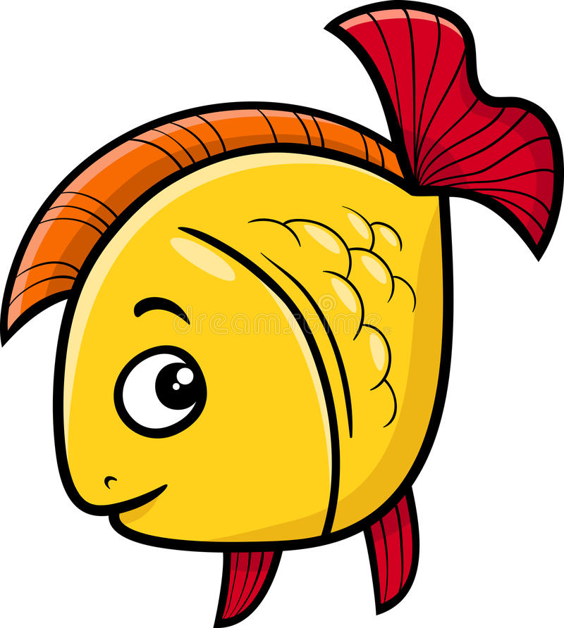De gouden illustratie van het vissenbeeldverhaal vector illustratie