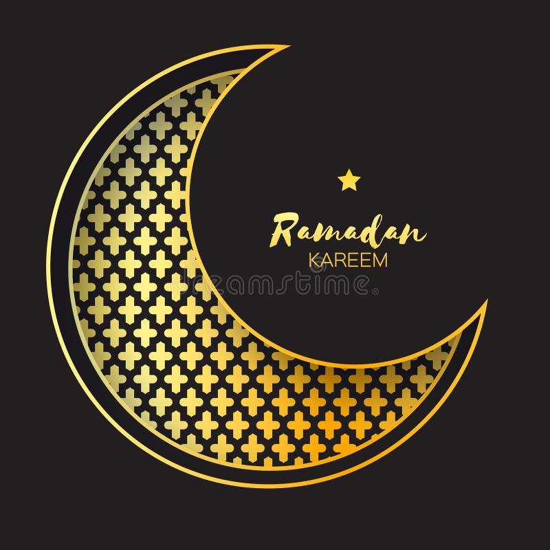 De gouden kaart van Crescent Moon Mosque Window Ramadan Kareem Greeting