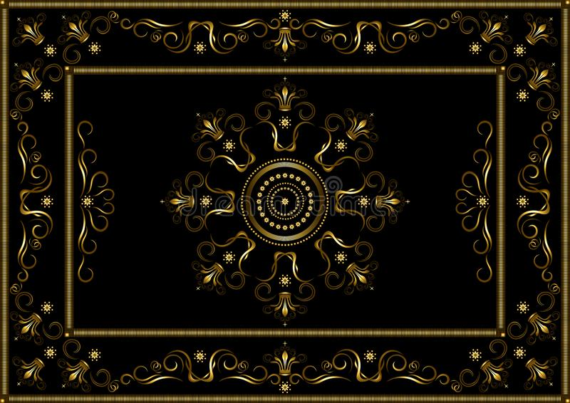 De gouden kaders van gestippelde strepen, met patroon op grens van goud verdraaiden strepen en kronen op zwarte achtergrond vector illustratie