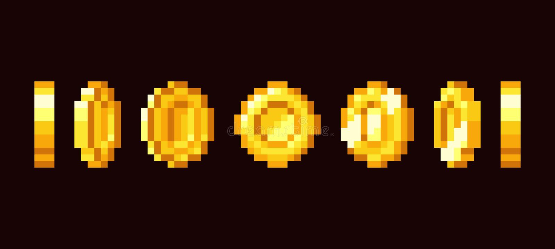 De gouden kaders van de muntstukanimatie voor retro videospelletje met 16 bits De vectorreeks van de pixelkunst vector illustratie