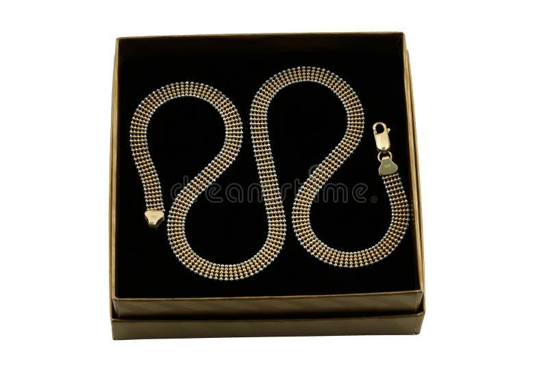 De gouden keten van Jewelery stock afbeelding
