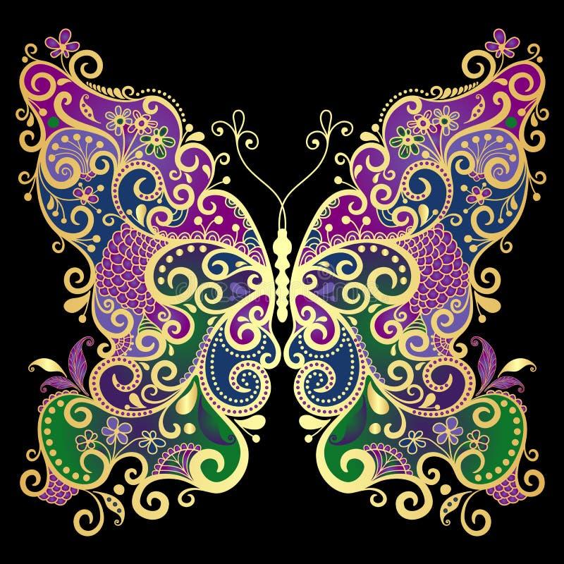 De gouden-kleurrijke vlinder van de fantasie royalty-vrije illustratie