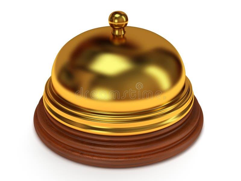 De gouden klok van de hotelontvangst. 3d geef terug. stock illustratie