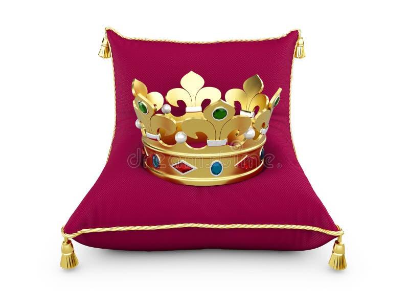 De gouden Koningskroon op het magentahoofdkussen isoleerde witte 3d illustratie vector illustratie