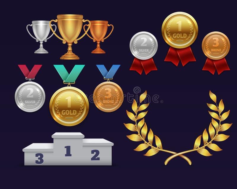 De gouden kop van de trofeetoekenning en gouden lauwerkrans, medailles en sportenpodium royalty-vrije illustratie