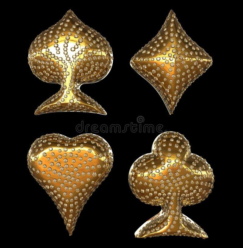 De gouden kostuums van de Kaart die met diamanten worden ingelegd vector illustratie