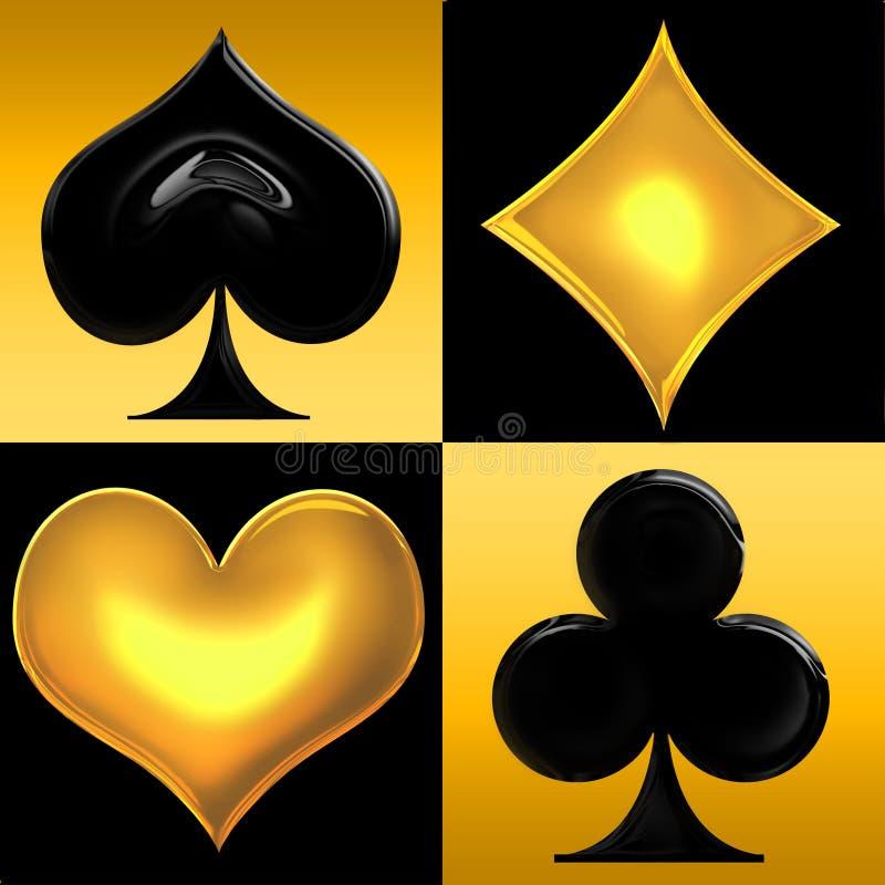 De gouden kostuums van de Speelkaart royalty-vrije illustratie