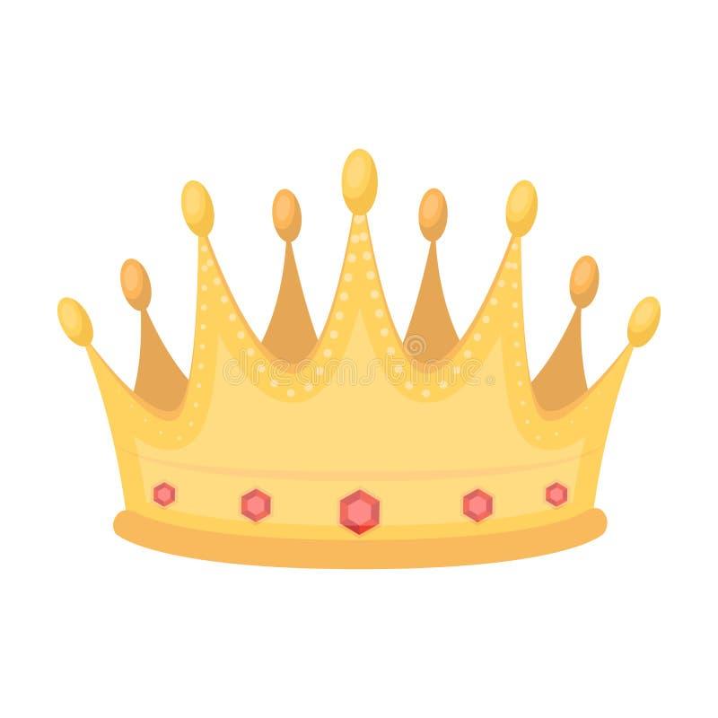 De gouden kroon met diamanten de winnaar van schoonheidscontestawards en trofeeën kiest pictogram in de vector van de beeldverhaa vector illustratie