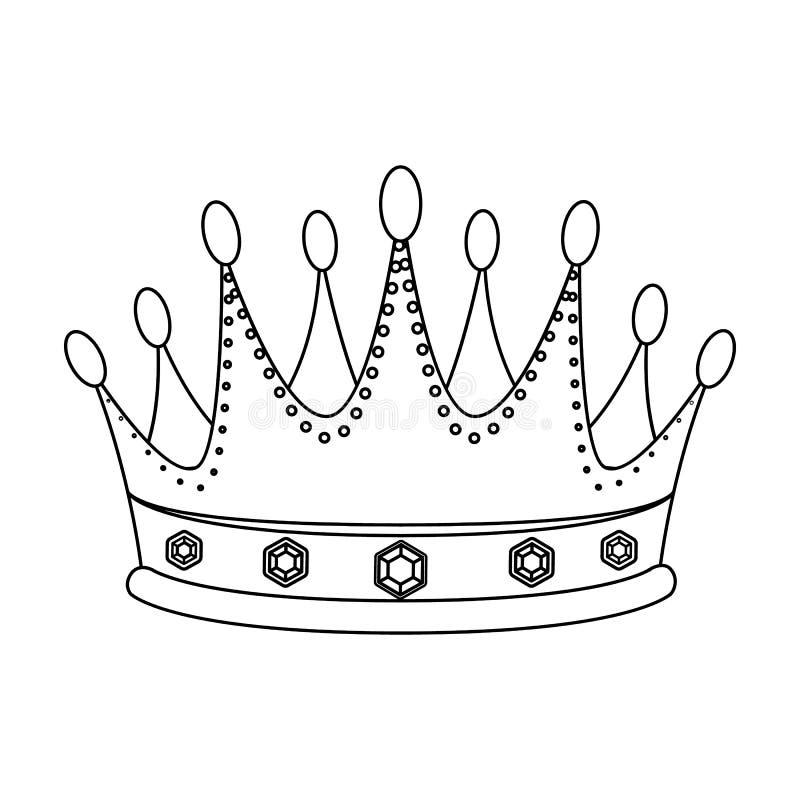 De gouden kroon met diamanten de winnaar van schoonheidscontestawards en trofeeën kiest pictogram in de vector van de overzichtss royalty-vrije illustratie