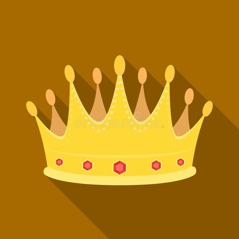 De gouden kroon met diamanten de winnaar van schoonheidscontestawards en trofeeën kiest pictogram in vlak stijl vectorsymbool uit vector illustratie