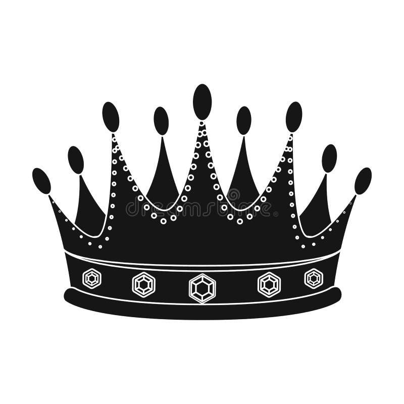 De gouden kroon met diamanten de winnaar van schoonheidscontestawards en trofeeën kiest pictogram in zwart stijl vectorsymbool ui vector illustratie
