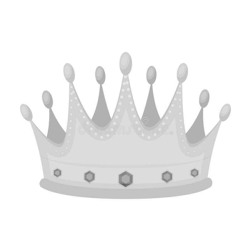 De gouden kroon met diamanten de winnaar van schoonheidscontestawards en trofeeën kiest pictogram in zwart-wit stijlvector uit vector illustratie