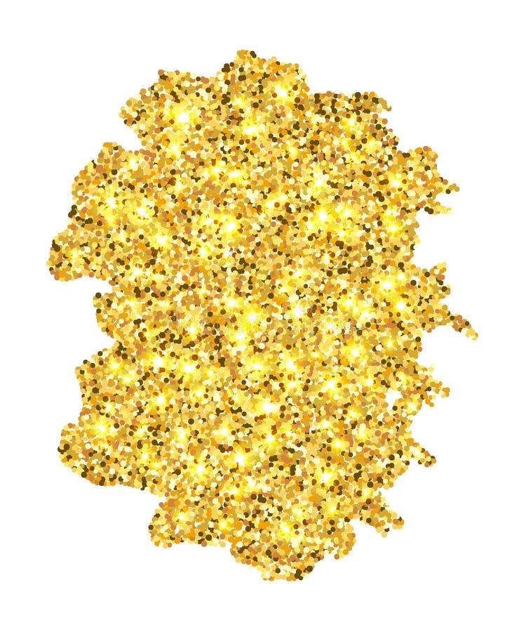De gouden kwaststreek in zwart kader isoleerde witte achtergrond Het gouden zand met schittert Helder schitter textuurgrens stock illustratie