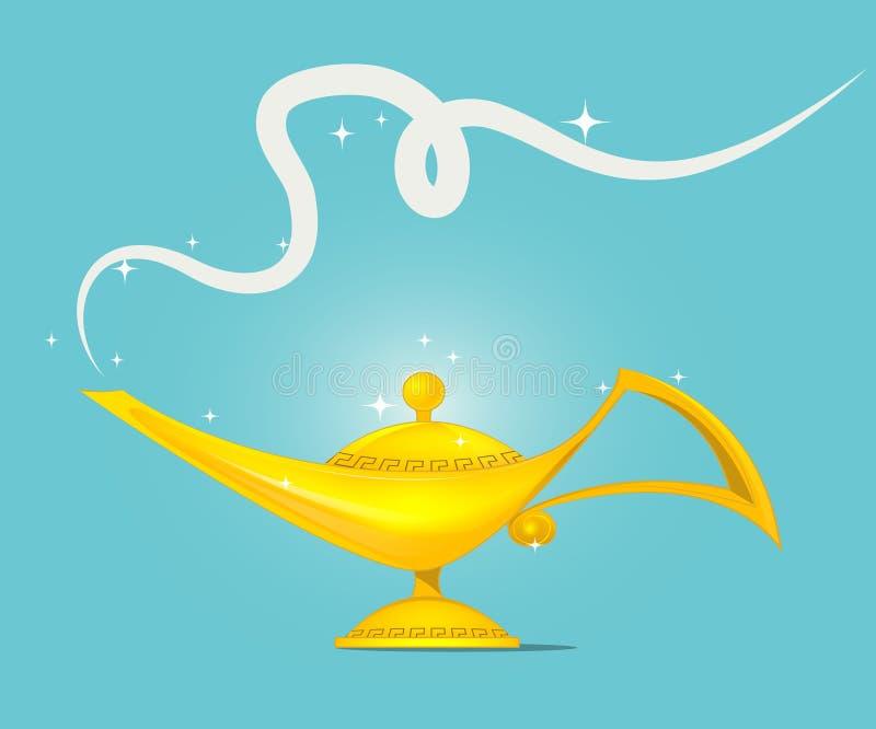 De gouden magische vector van het lampontwerp vector illustratie