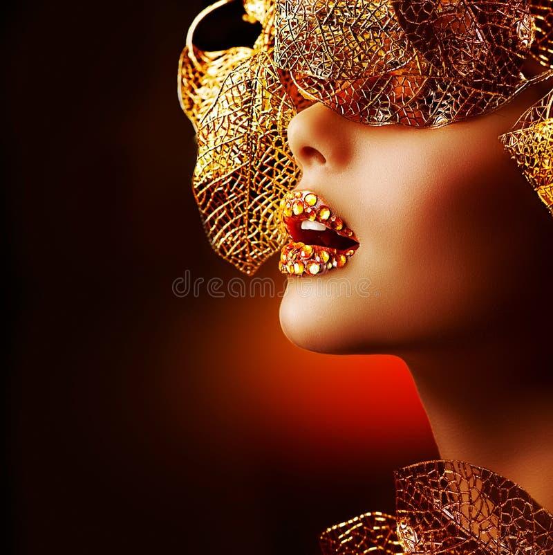 De Gouden Make-up van de luxe royalty-vrije stock afbeelding