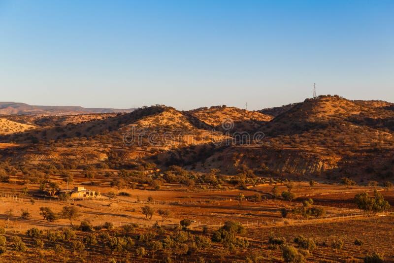 De gouden mening van het uurlandschap van vallei in Marokko Mooi Noordelijk Afrikaans Landschap royalty-vrije stock afbeeldingen