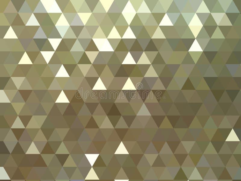 De gouden metaal glanzende driehoekige abstracte schitterende achtergrond van het veelhoekpatroon vector illustratie