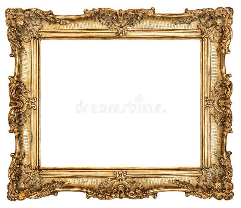 De gouden omlijsting isoleerde witte achtergrond stock afbeeldingen