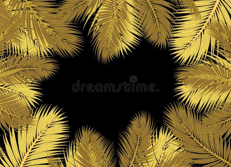 De gouden Palmen doorbladert zwart achtergrondconceptenmodel vector illustratie