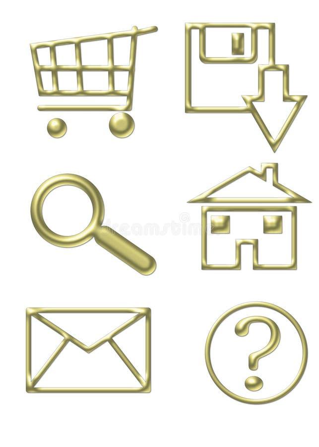De gouden Pictogrammen van de Website vector illustratie