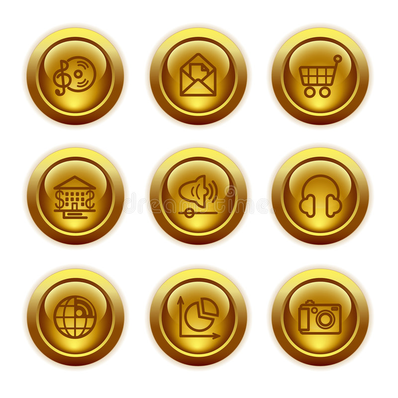 De gouden pictogrammen van het knoopWeb, reeks 5 royalty-vrije illustratie