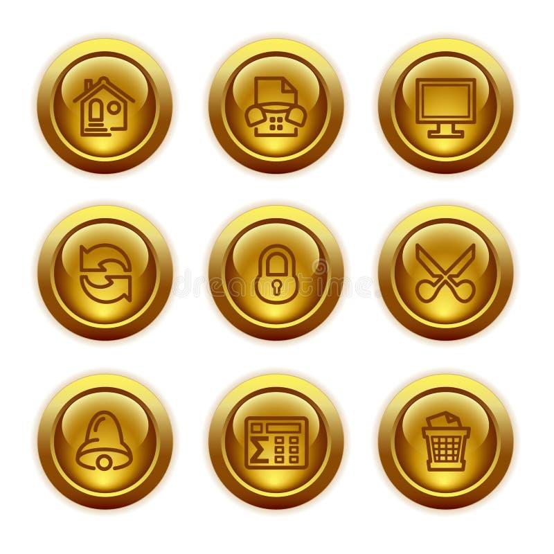 De gouden pictogrammen van het knoopWeb, reeks 7 vector illustratie
