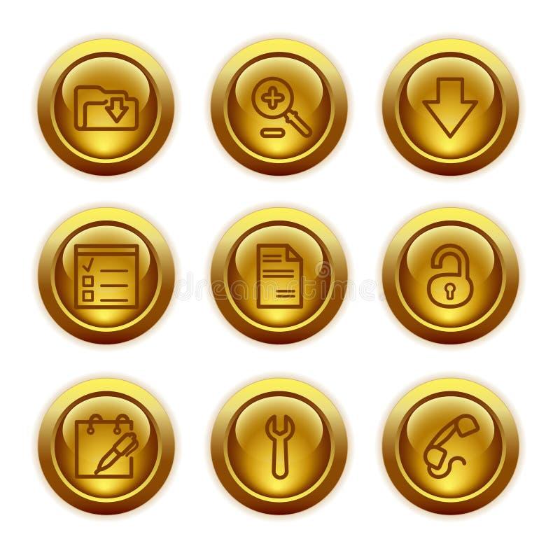 De gouden pictogrammen van het knoopWeb, reeks 8 vector illustratie