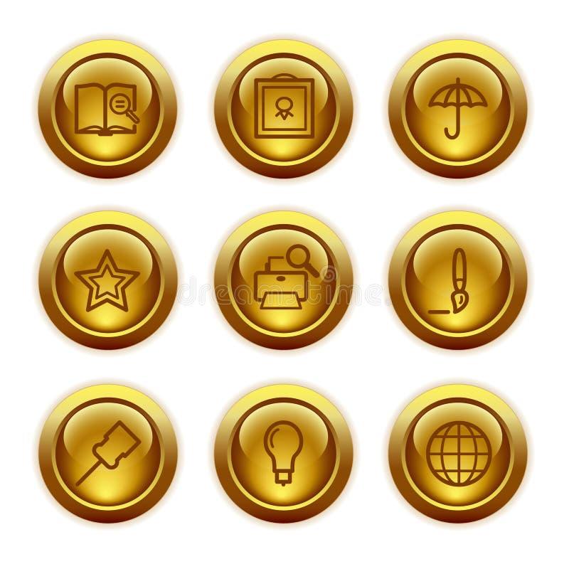 De gouden pictogrammen van het knoopWeb, reeks 9 stock illustratie