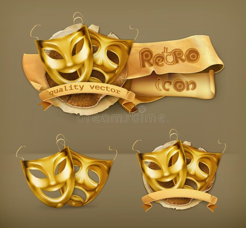 De gouden pictogrammen van theatermaskers stock illustratie