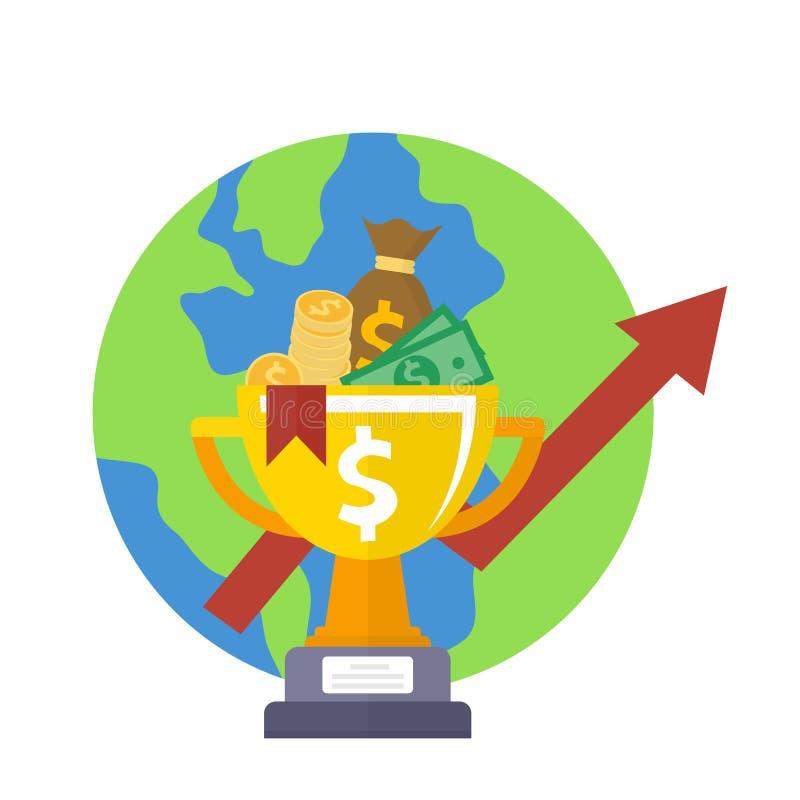 De gouden prijs van het kopkampioenschap met geldpictogram Toekennings eerste plaats Geldwinsten en globaal de besparingenpictogr stock illustratie