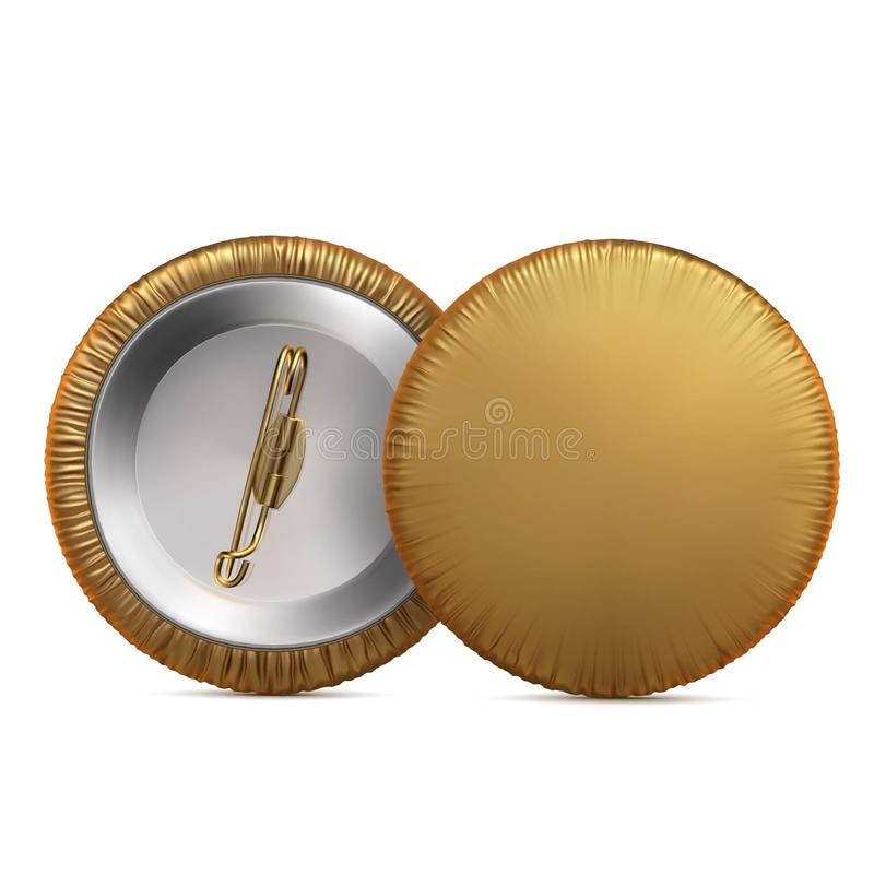 De gouden ronde broche van de kentekenspeld die met doek wordt behandeld royalty-vrije illustratie