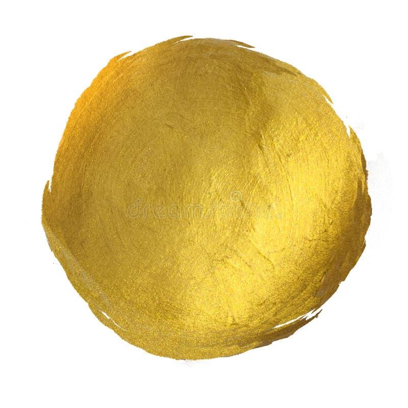 De gouden Ronde Glanzende Getrokken Hand van de Verfvlek vector illustratie