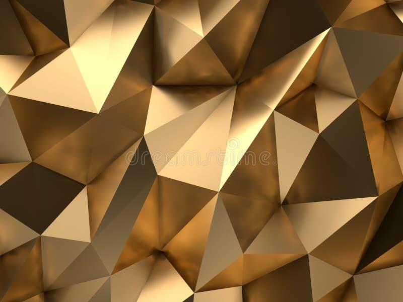 De gouden Samenvatting 3D-geeft Achtergrond terug royalty-vrije illustratie