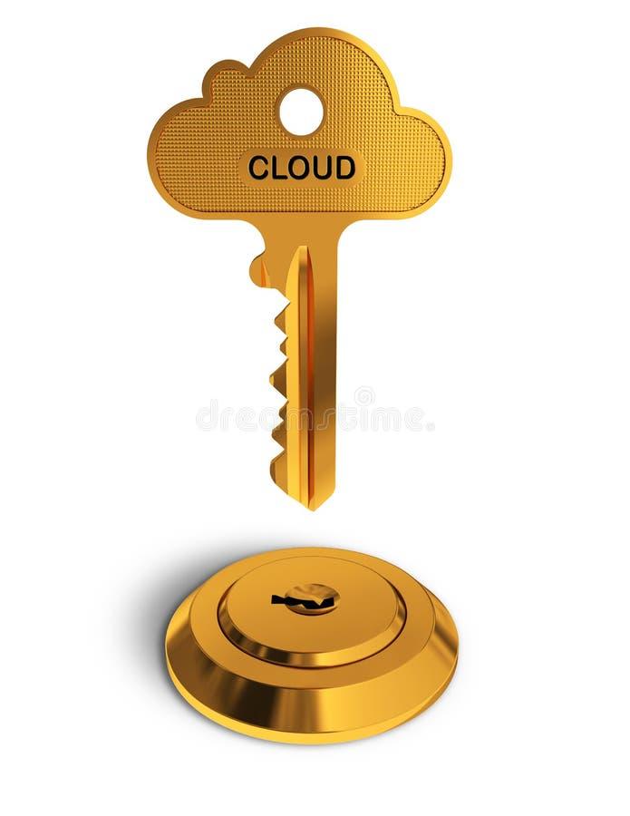 De gouden sleutel van de wolk stock illustratie