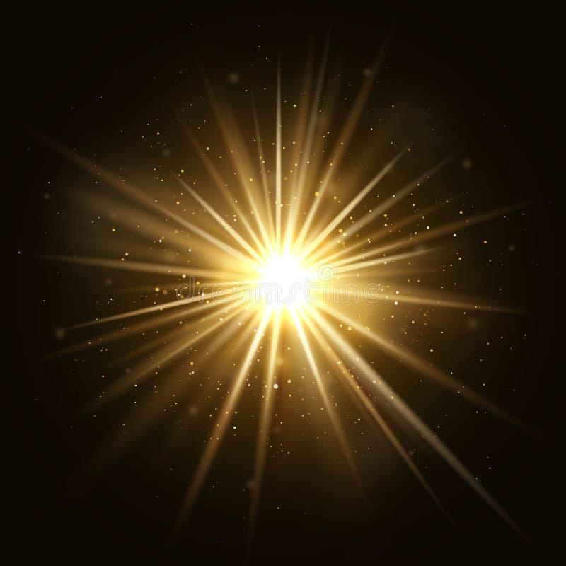 De gouden ster barstte Gouden lichte die explosie op donkere vectorillustratie wordt geïsoleerd als achtergrond stock illustratie