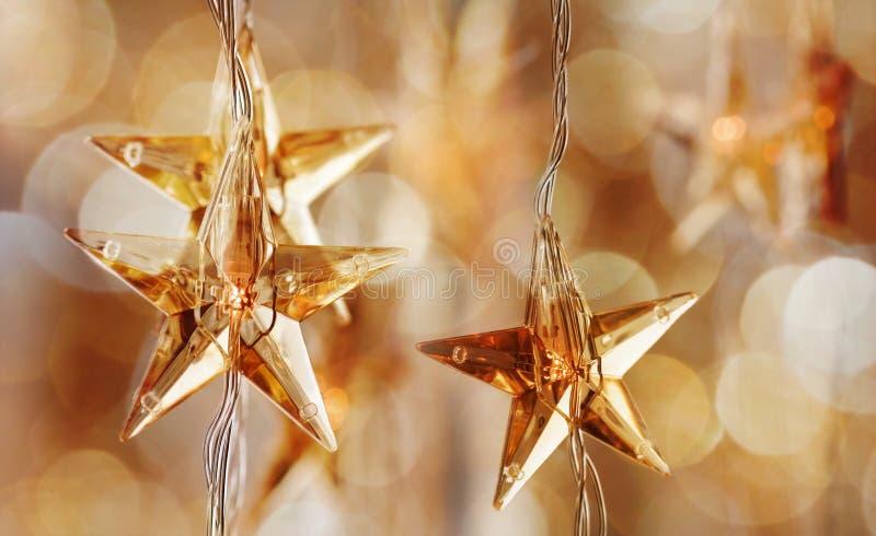 De gouden sterren van Kerstmis royalty-vrije stock foto