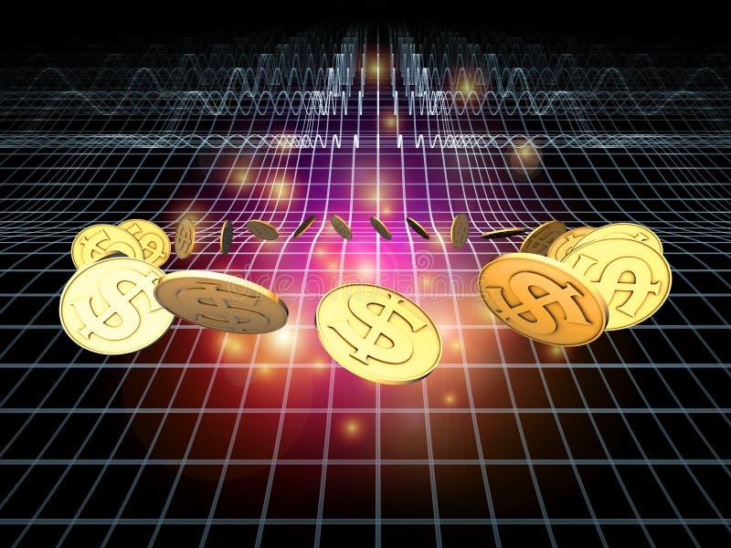 De gouden Stroom van de Dollar vector illustratie