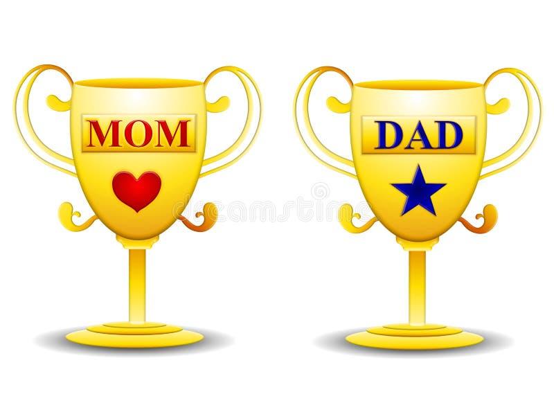 De Gouden Trofeeën van het mamma en van de Papa vector illustratie