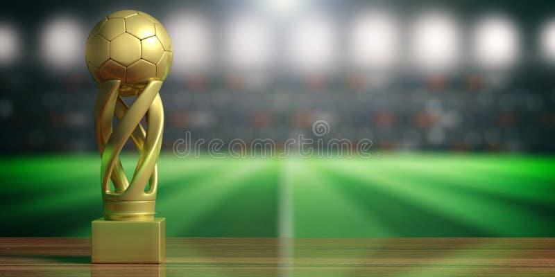 De gouden trofee van de voetbalvoetbal op de achtergrond van het onduidelijk beeldstadion 3D Illustratie royalty-vrije illustratie