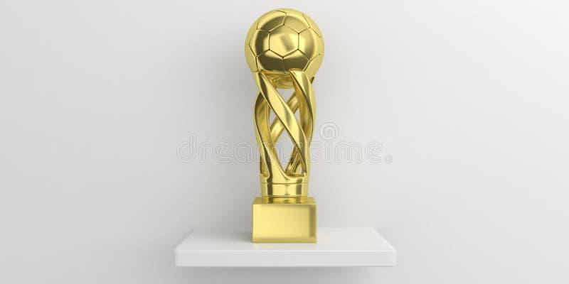 De gouden trofee van de voetbalvoetbal op een plank, witte muurachtergrond 3D Illustratie stock illustratie