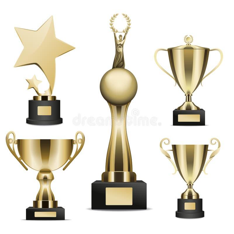 De gouden Trofee vormt Realistische Vectorinzameling tot een kom stock illustratie